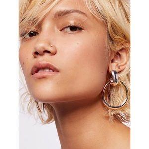NWT Free People Farrah Metal Hoop Earrings Multi